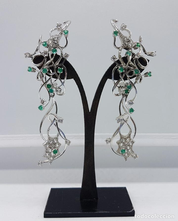 Joyeria: Impresionantes pendientes en plata de ley con acabado en oro blanco 18k, circonitas y esmeraldas . - Foto 5 - 75261231