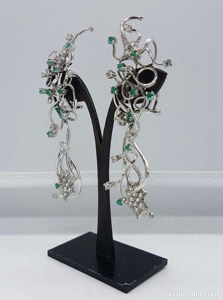 Joyeria: Impresionantes pendientes en plata de ley con acabado en oro blanco 18k, circonitas y esmeraldas . - Foto 6 - 75261231