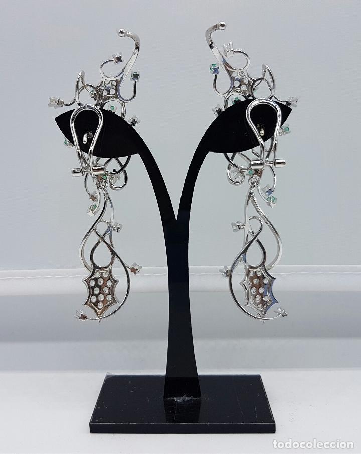 Joyeria: Impresionantes pendientes en plata de ley con acabado en oro blanco 18k, circonitas y esmeraldas . - Foto 7 - 75261231