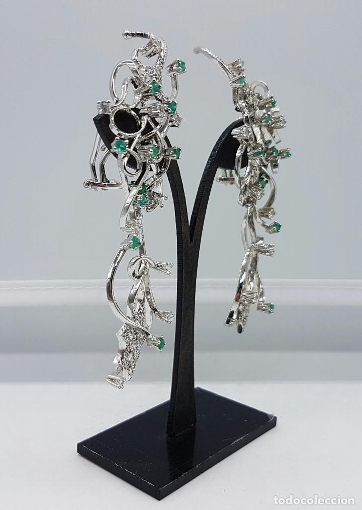 Joyeria: Impresionantes pendientes en plata de ley con acabado en oro blanco 18k, circonitas y esmeraldas . - Foto 9 - 75261231