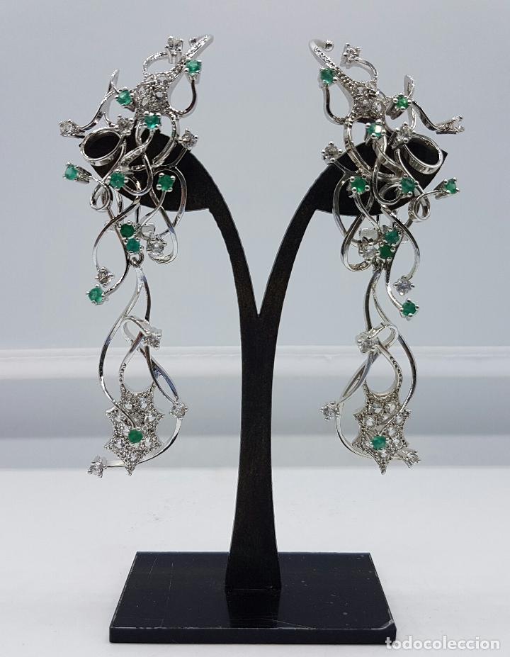 Joyeria: Impresionantes pendientes en plata de ley con acabado en oro blanco 18k, circonitas y esmeraldas . - Foto 10 - 75261231