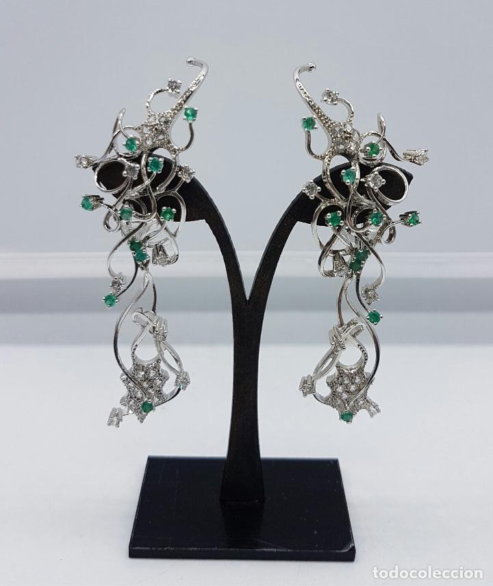 Joyeria: Impresionantes pendientes en plata de ley con acabado en oro blanco 18k, circonitas y esmeraldas . - Foto 11 - 75261231