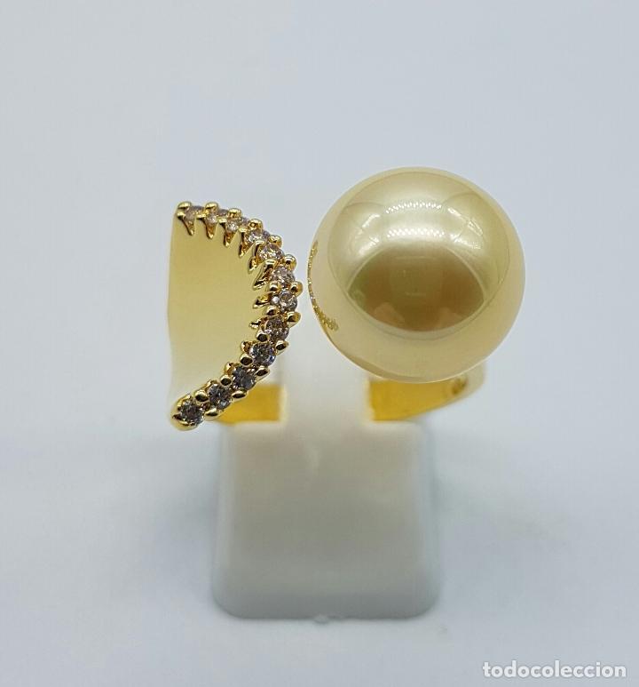 Joyeria: Elegante anillo vintage chapado en oro de 18k con gran perla y circonitas talla diamante engarzadas - Foto 3 - 103689671