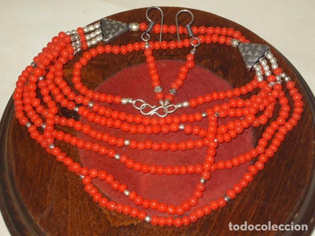 JUEGO DE COLLAR Y PENDIENTES,PLATA TIBETANA.AÑOS 70-80 (Joyería - Collares Antiguos)