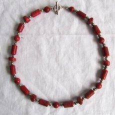 Joyeria - Collar de coral rojo con cierre y bolas de plata 925 - 75791015