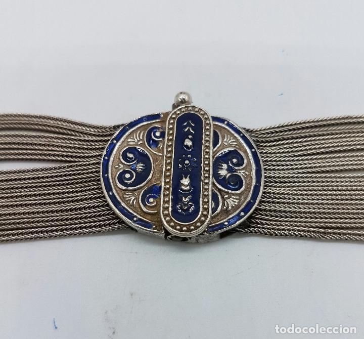 Joyeria: Impresionante gargantilla antigua en plata de ley con medallones cincelados y esmaltados en azul . - Foto 8 - 76409599