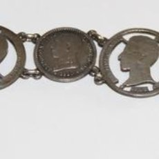 Joyeria: PULSERA CON MONEDAS DE ALFONSO XIII. PLATA. 18 CM. ESPAÑA. PRINC. S. XX. Lote 76589159