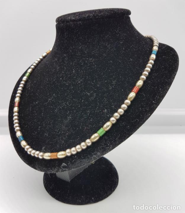 Joyeria: Bella gargantilla vintage en perlas de plata de ley contrastada y cuentas cilíndricas esmaltadas . - Foto 2 - 77256145
