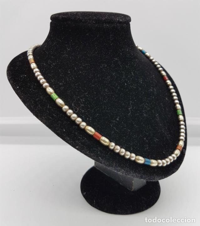 Joyeria: Bella gargantilla vintage en perlas de plata de ley contrastada y cuentas cilíndricas esmaltadas . - Foto 3 - 77256145