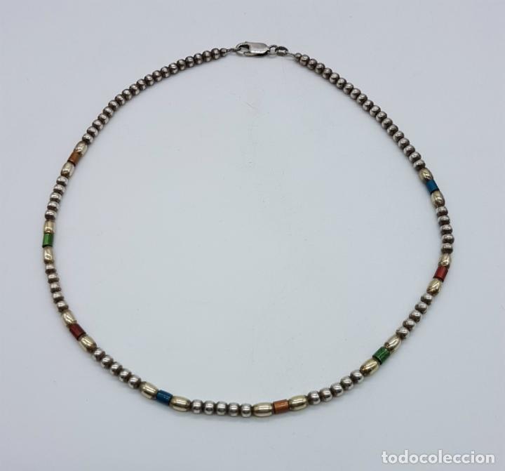 Joyeria: Bella gargantilla vintage en perlas de plata de ley contrastada y cuentas cilíndricas esmaltadas . - Foto 4 - 77256145