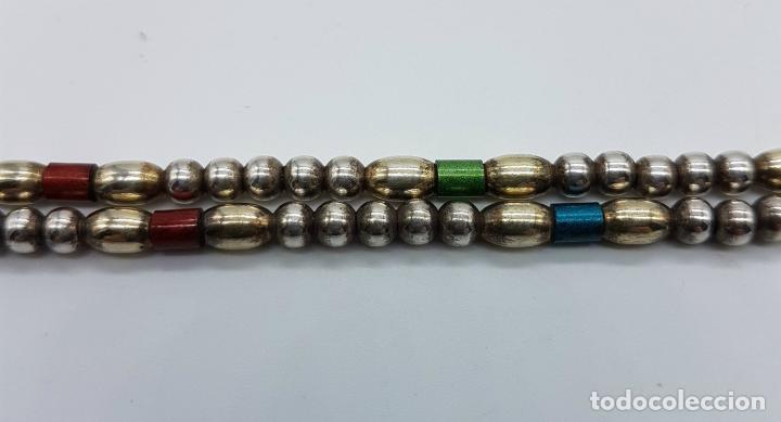 Joyeria: Bella gargantilla vintage en perlas de plata de ley contrastada y cuentas cilíndricas esmaltadas . - Foto 5 - 77256145