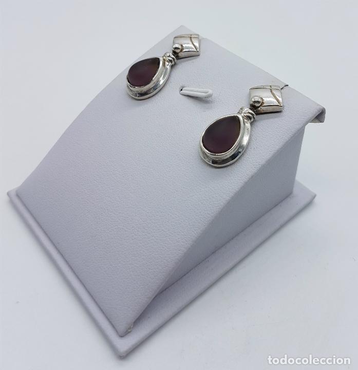 Joyeria: Pendientes antiguos en plata de ley con cabujón en cristal glace color amatista con forma de lagrima - Foto 2 - 77268385
