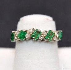 Joyeria: ANTIGUA SORTIJA EN PLATINO ESMERALDA DIAMANTES ANCIENT RING IN PLATINUM EMERALD DIAMONDS. Lote 77463865