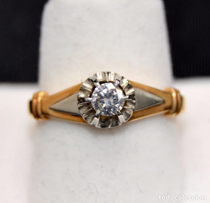 HERMOSA SORTIJA SOLITARIO DE EN ORO 18K PLATINO DIAMONDS ENGAGEMENT (Joyería - Anillos Antiguos)