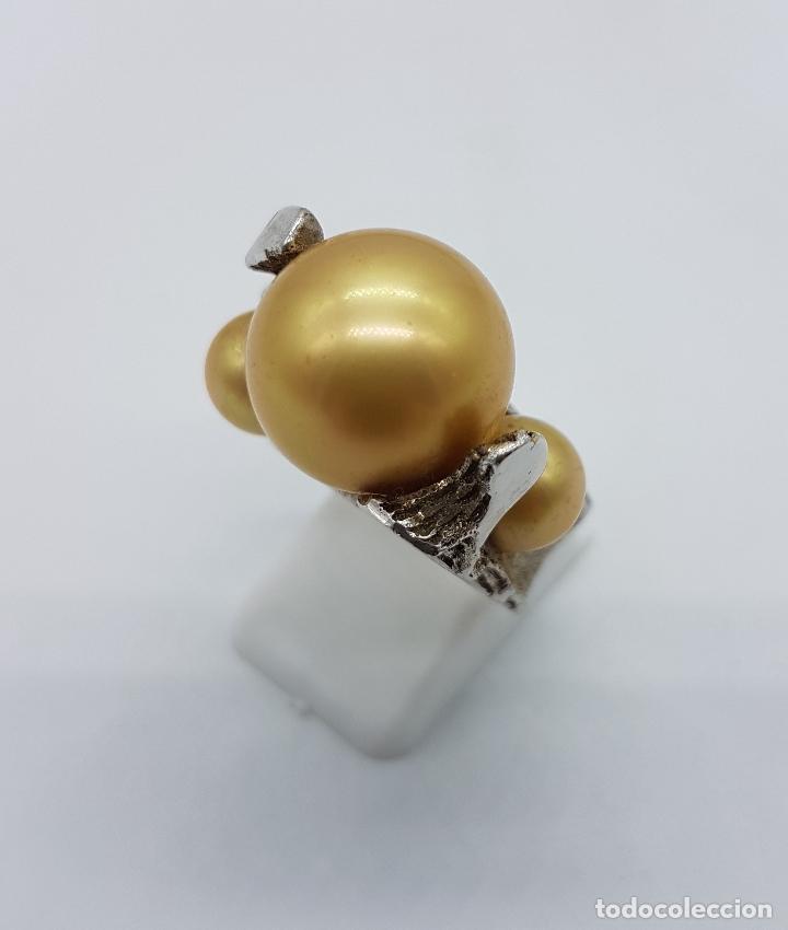 Joyeria: Anillo antiguo estilo art nouveau en plata de ley contrastada con grabados y perlas incrustadas . - Foto 2 - 77838149