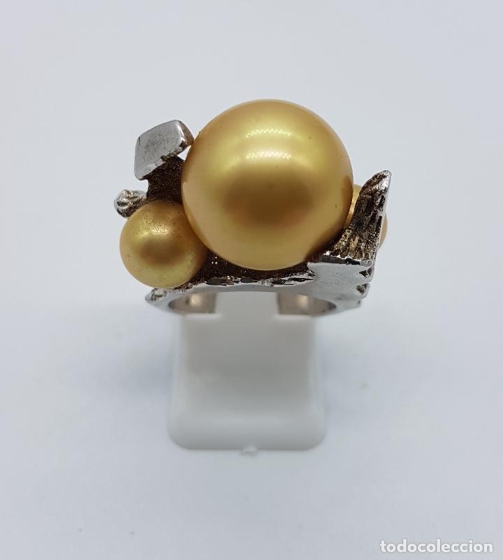 Joyeria: Anillo antiguo estilo art nouveau en plata de ley contrastada con grabados y perlas incrustadas . - Foto 3 - 77838149