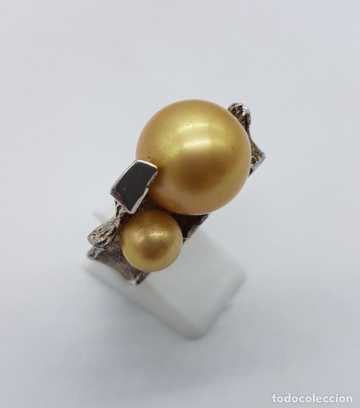 Joyeria: Anillo antiguo estilo art nouveau en plata de ley contrastada con grabados y perlas incrustadas . - Foto 4 - 77838149
