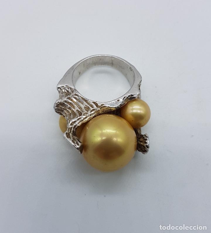 Joyeria: Anillo antiguo estilo art nouveau en plata de ley contrastada con grabados y perlas incrustadas . - Foto 6 - 77838149