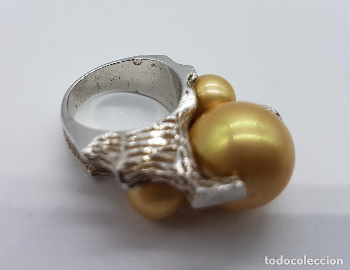 Joyeria: Anillo antiguo estilo art nouveau en plata de ley contrastada con grabados y perlas incrustadas . - Foto 7 - 77838149