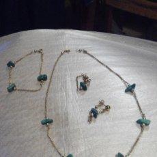 Jewelry - CONJUNTO COLLAR PULSERA Y PENDIENTES EN ORO 14 QUILATES Y PIEDRAS - 77840321