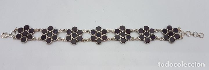 Joyeria: Pulsera antigua en eslabones de plata de ley contrastada con forma de flor y cabujones de amatistas - Foto 5 - 78370797