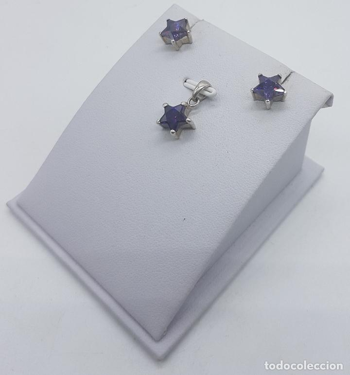 Joyeria: Conjunto vintage de colgante y pendientes en plata de ley con amatistas talla estrella engarzadas . - Foto 2 - 78427817