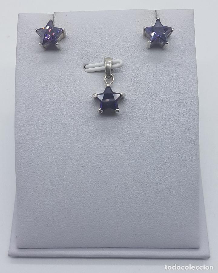Joyeria: Conjunto vintage de colgante y pendientes en plata de ley con amatistas talla estrella engarzadas . - Foto 3 - 78427817