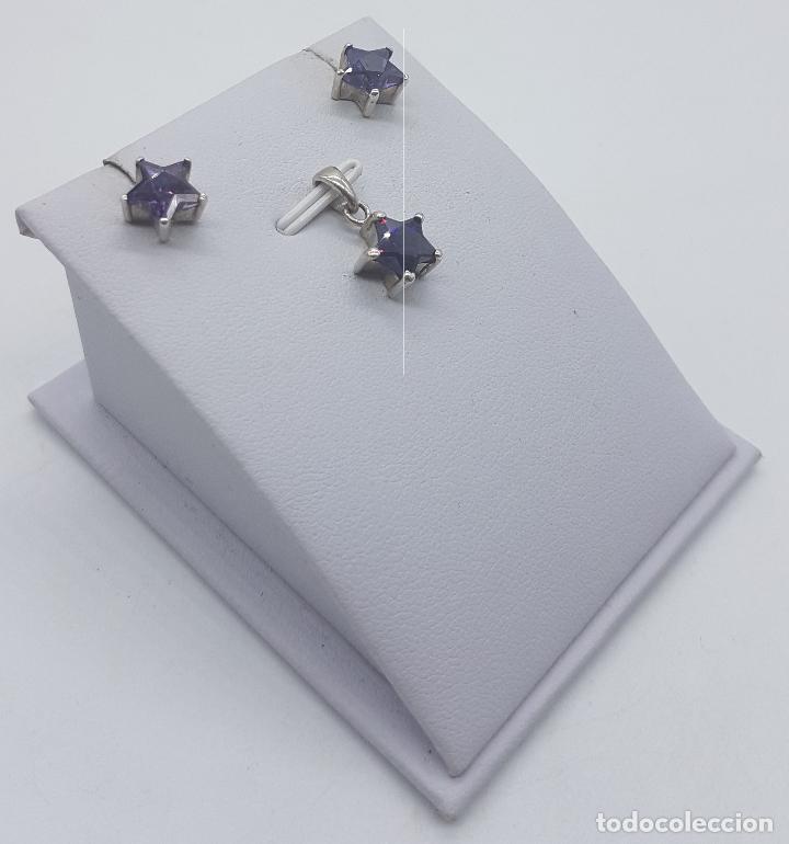 Joyeria: Conjunto vintage de colgante y pendientes en plata de ley con amatistas talla estrella engarzadas . - Foto 4 - 78427817