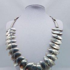 Jewelry - Magnífica gargantilla antigua en eslabones de plata de ley contrastada de diseño modernista . - 78663253
