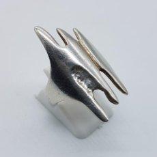 Jewelry - Original anillo vintage en plata de ley contrastada de diseño abstracto . - 80399405