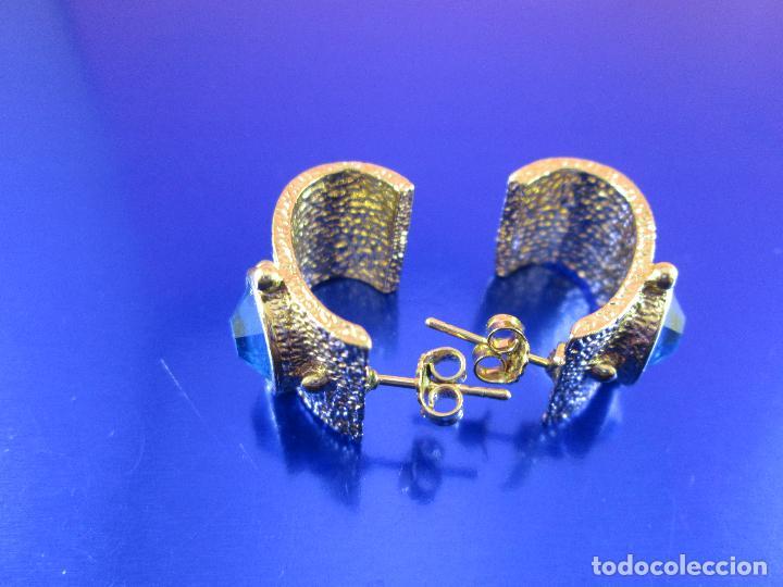 Joyeria: juego pendientes-piedra azul-dorados-buen estado-ver fotos. - Foto 3 - 80405301