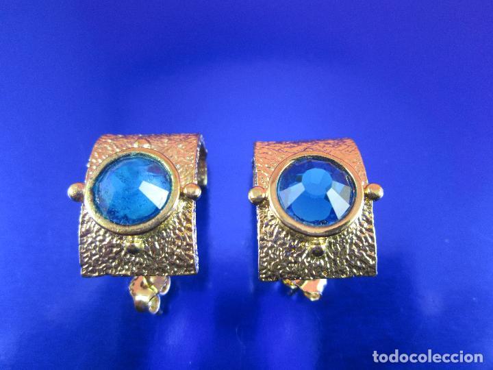 Joyeria: juego pendientes-piedra azul-dorados-buen estado-ver fotos. - Foto 4 - 80405301