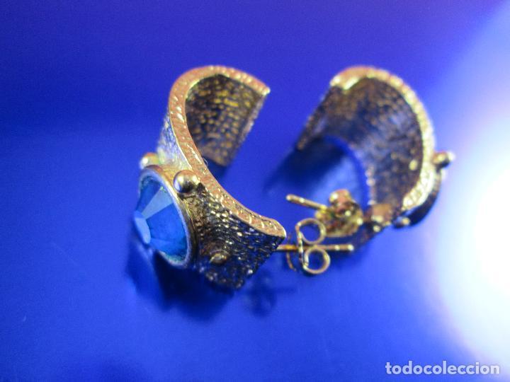 Joyeria: juego pendientes-piedra azul-dorados-buen estado-ver fotos. - Foto 6 - 80405301