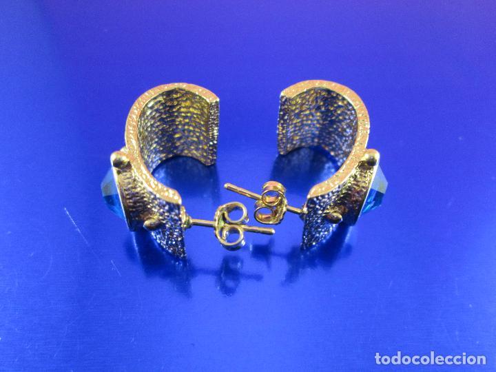 Joyeria: juego pendientes-piedra azul-dorados-buen estado-ver fotos. - Foto 7 - 80405301
