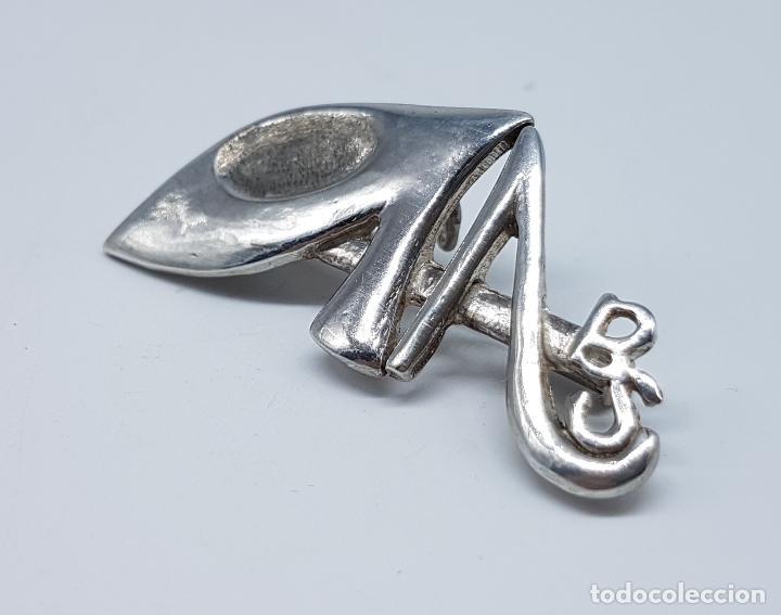 Joyeria: Broche colgante antiguo en plata de ley contrastada de diseño estilo Dalí . - Foto 2 - 80406369