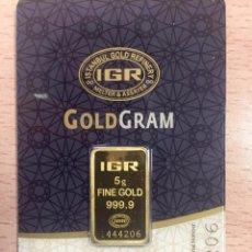 Joyeria: LINGOTE DE 5 GRAMOS DE LA REFINERÍA IGR (ISTANBUL GOLD REFINERY, PERTENECIENTE A LA LBMA). Lote 80461397