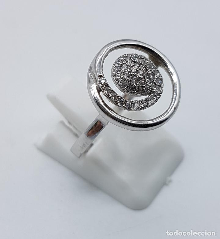 Joyeria: Elegante anillo vintage en plata de ley contrastada con pavé de circonitas talla brillante . - Foto 3 - 80702642