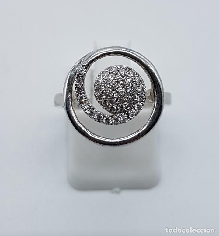 Joyeria: Elegante anillo vintage en plata de ley contrastada con pavé de circonitas talla brillante . - Foto 4 - 80702642