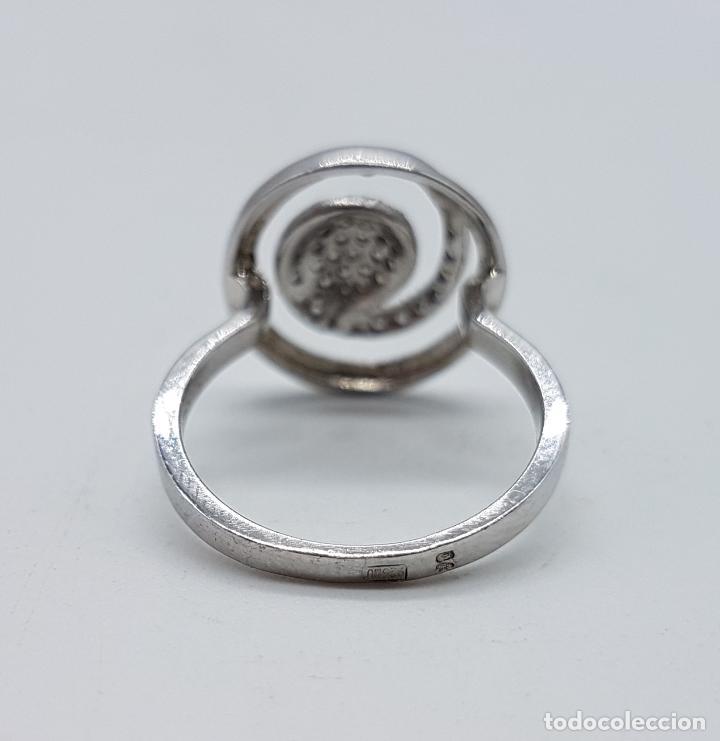 Joyeria: Elegante anillo vintage en plata de ley contrastada con pavé de circonitas talla brillante . - Foto 5 - 80702642