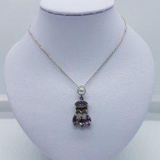 Joyeria - Elegante gargantilla antigua en plata de ley con perla cultivada y amatistas talla marqués . - 82005824