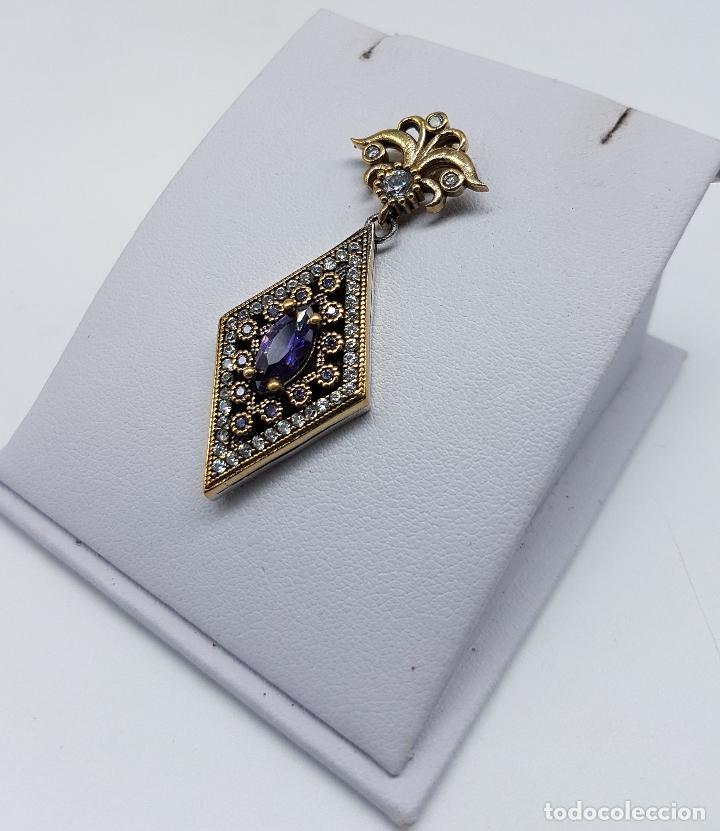 Joyeria: Colgante estilo imperio en plata de ley contrastada, bronce, circonitas y amatistas engarzadas . - Foto 2 - 83609480