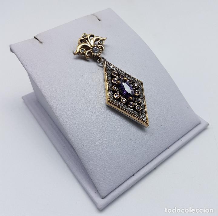 Joyeria: Colgante estilo imperio en plata de ley contrastada, bronce, circonitas y amatistas engarzadas . - Foto 4 - 83609480
