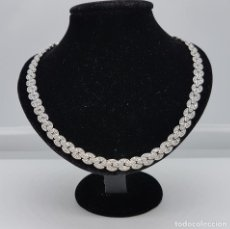 Joyeria - Magnífica gargantilla antigua en eslabones de plata de ley y pavé de circonitas talla brillante . - 83759136