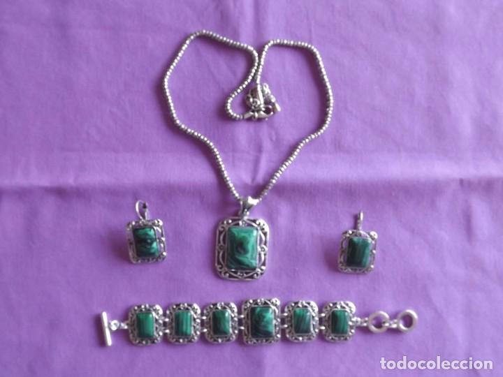 Joyeria: Juego vintage de colgante, pulsera y pendientes de malaquita - Foto 2 - 169378146