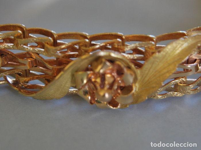 Joyeria: Exclusiva pulsera de oro de 18 Kt. con decoraciones florales - Foto 4 - 210944880