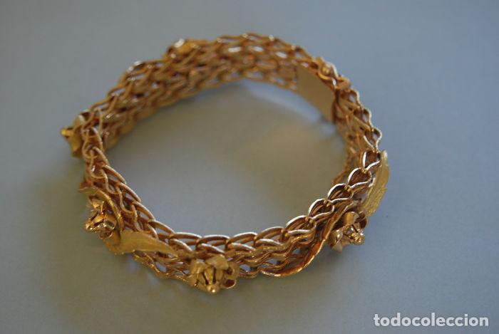 Joyeria: Exclusiva pulsera de oro de 18 Kt. con decoraciones florales - Foto 5 - 210944880
