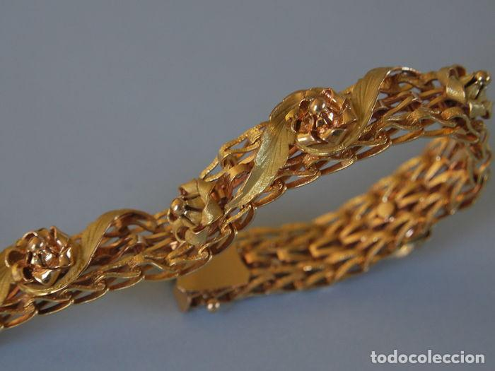 Joyeria: Exclusiva pulsera de oro de 18 Kt. con decoraciones florales - Foto 6 - 210944880