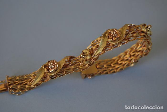 Joyeria: Exclusiva pulsera de oro de 18 Kt. con decoraciones florales - Foto 8 - 210944880