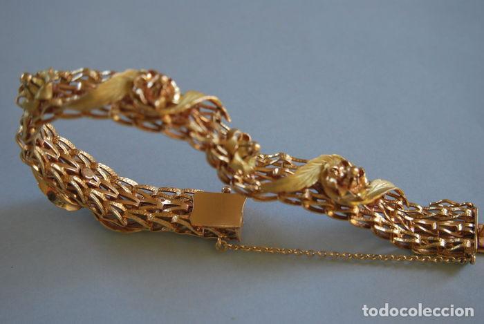 Joyeria: Exclusiva pulsera de oro de 18 Kt. con decoraciones florales - Foto 11 - 210944880