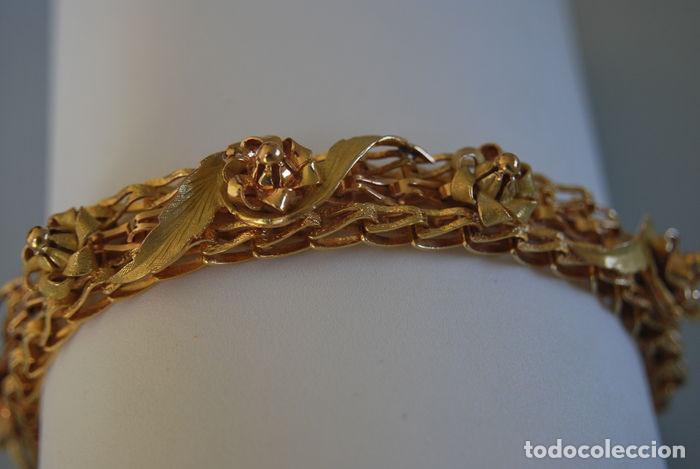 Joyeria: Exclusiva pulsera de oro de 18 Kt. con decoraciones florales - Foto 12 - 210944880